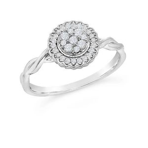 GENUINE 1/5CT Diamond Flower Cluster Ring